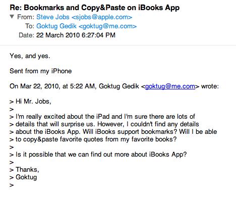 Sihirli elma steve jobs email