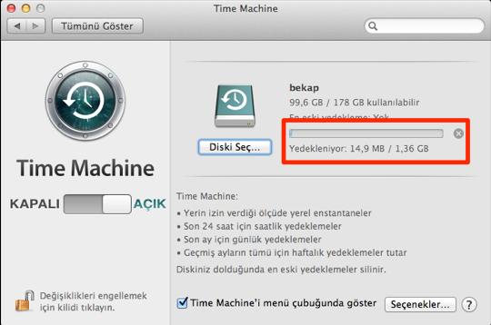 Sihirli elma mac yedekleme time machine 11