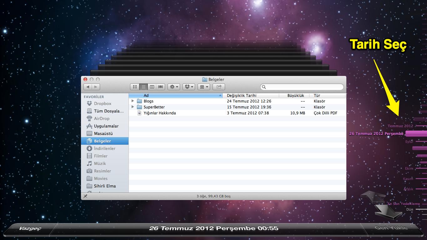 Sihirli elma mac yedekleme time machine 14
